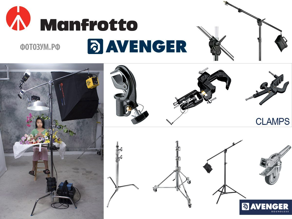 Новинка на фотозум C-Stand, Grip Head, Extension Arm, Зажимы Manfrotto Avenger